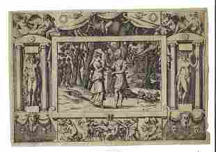 17th C Engraving Classical Border Nudes