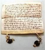 1331 Medieval Vellum Legal Manuscript Seals