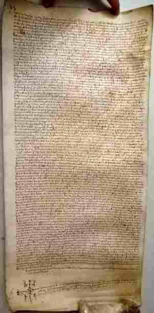 1535 Beautifully Penned Spanish Vellum Scroll