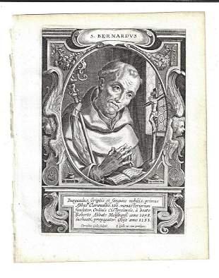 1634 Fine Engraving by Galle of Saint Bernardus