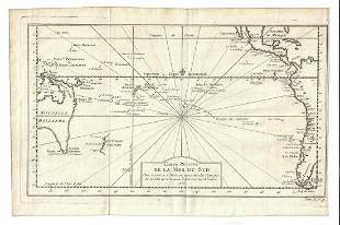 1753 Fine Folding Map of the South Seas