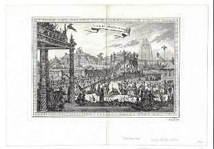 1750 Engraving Cour Du Grand Mogol India