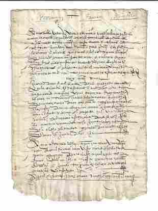 1550 Four Page Spanish Legal Manuscript