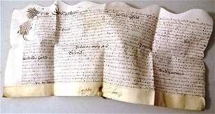 1655 English Vellum Deed Seal and Signatures