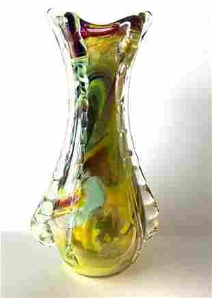 Murano style colourful blown glass vase 36cm 2kg
