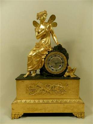 Antique French gilt & patinated Bronze clock with Fairy