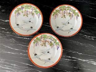 3 Antique Handpainted Japanease plates
