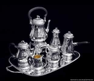 PUIFORCAT - 8pc. LOUIS XVI STERLING SILVER TEA / COFFEE