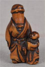 19c netsuke LUCKY GOD FUKUROKUJU with boy by