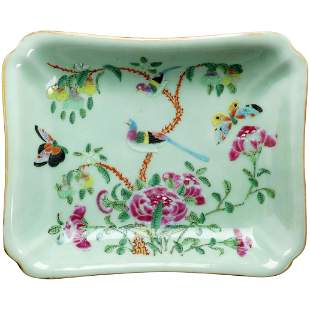 19th C Chinese Celadon Dish with Enamels