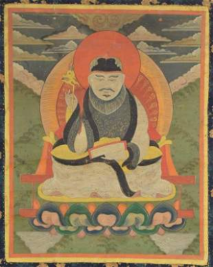 19c Tibetan / Mongolian thangka TSERENDUG The White Old