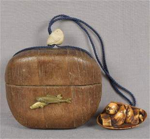 19c Japanese tobacco box FISH ojime netsuke