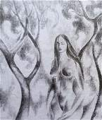 Pencil painting Portrait of a naked girl Peter Tovpev