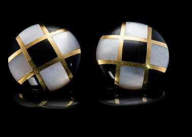 Tiffany and CO Onyx Mother of Pearl Earrings 18K Gold