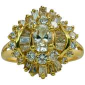 Diamond Ballerina Ring 18K Gold Vintage Estate 1.63 TDW
