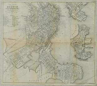 1853 Boynton Map of Boston [verso] Map of New England
