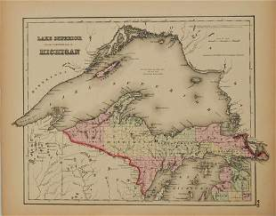 1855 Colton Map of Lake Superior and the Northern Part