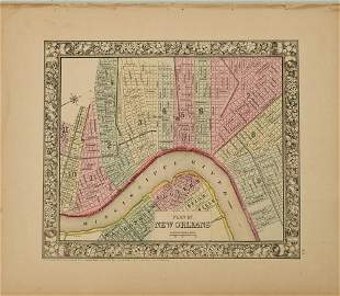 1860 Mitchell Map of New Orleans -- Plan of New Orleans