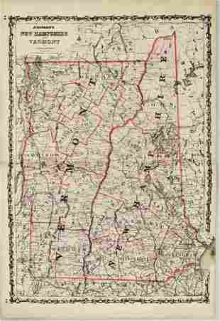 1862 Johnson Map of New Hampshire and Vermont --