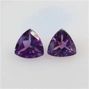 4.03 Ct Natural Purple Amethyst Trillion Pair