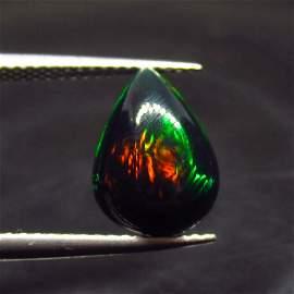 1.87 Ct Natural Ethiopian Black Fire Opal Pear Cab