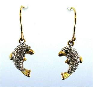 10k Yellow White Gold Onyx Dolphin Earrings
