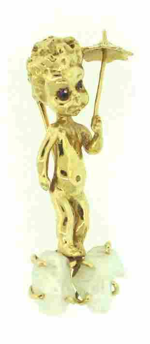 14K GOLD PEARL SAPPHIRE CHERUB PIN ANGEL THEMED