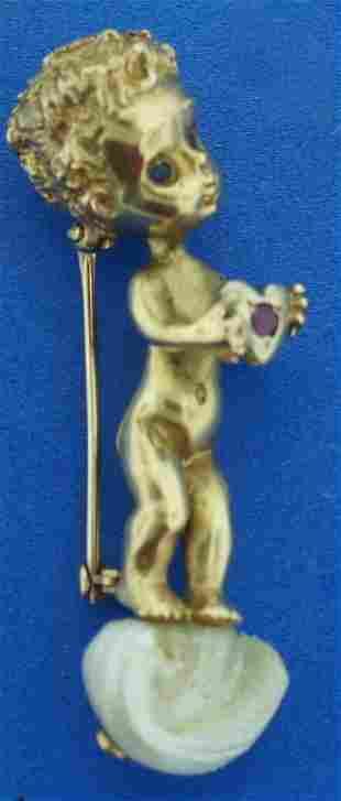 14K GOLD RUSER CHERUB RUBY SAPPHIRE PEARL PIN ANGEL