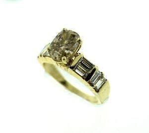 14K YELLOW GOLD C.1935 BROWN DIAMOND & BAQUETTE DIAMOND