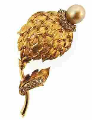 14K YELLOW GOLD COGNAC DIAMOND PEARL FLOWER BROOCH PIN