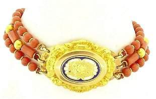 14k Yellow Gold Enamel Coral Beads Bracelet