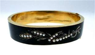 14k Yellow Gold Enamel Natural Pearls Victorian Bangle