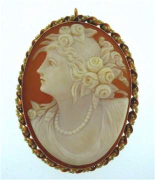 14k Yellow Gold Seed Pearl Carved Cameo Pendant / Pin