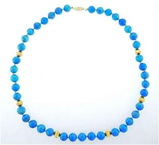 14k Yellow Gold Turquoise Beads Necklace