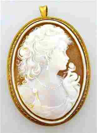 18k Yellow Gold Carved Cameo Brooch / Pendant