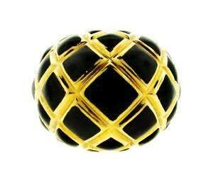 TIMELESS David Webb 18k Yellow Gold & Enamel Ring!