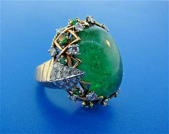 WOW Sterle Paris 18k Yellow Gold, Emerald & Diamond
