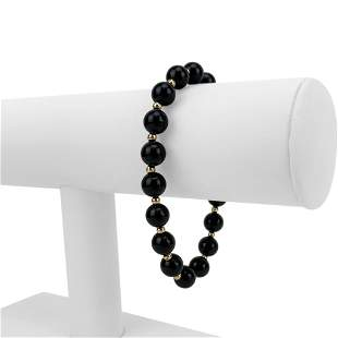 14k Yellow Gold and 8mm Onyx Ball Bead Bracelet 7.5""