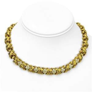 Tiffany & Co. 18k Yellow Gold and Diamond X Link Collar