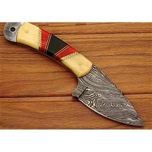 Skinner damascus steel knife camel bone bison horn