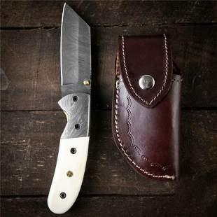 Combat damascus steel knife bone chef