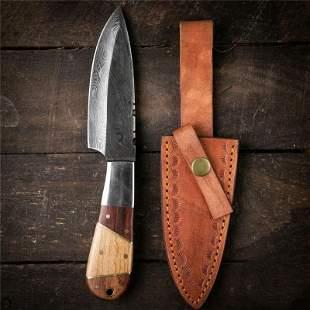 Handmade hunting damascus steel knife boot wood brass