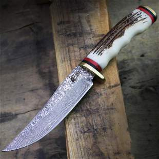 Butcher damascus steel knife boot leather faux stag