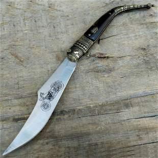 Sharp handmade steel knife hunting horn