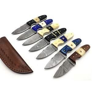 7 pcs SET hunting damascus steel knife bull horn knives
