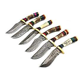 6 pcs SET handmade damascus steel knife stag antler