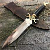 Full tang steel knife survival bull horn brass