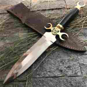 Full tang steel knife survival bull horn brass