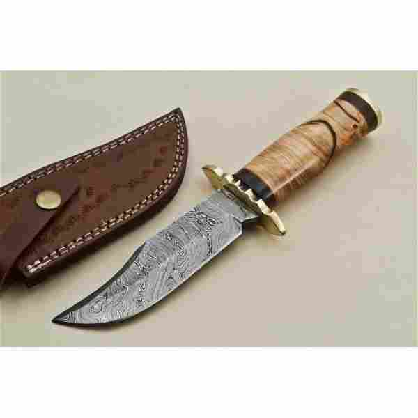 Bowie damascus steel knife hunting wood brass