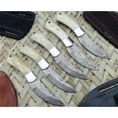 5 Pc SET LOT Butcher damascus steel knives bone knife